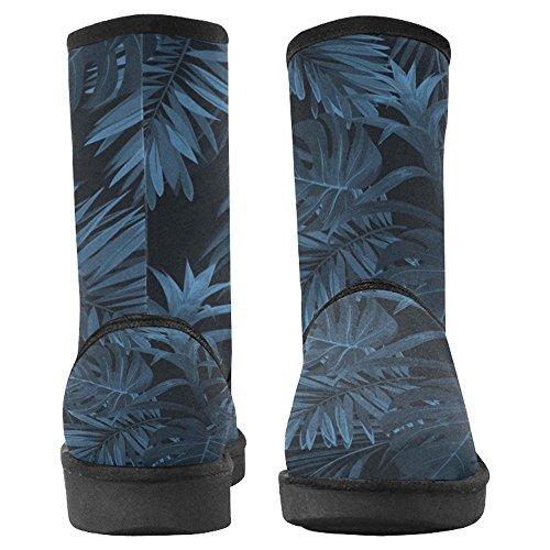 Bottes De Neige Womensprintprint Bottes Uniques Conçu Confort Bottes Dhiver Exotiques Tropical Hawaiian Plantes Et Fleurs Indigo Multi 1