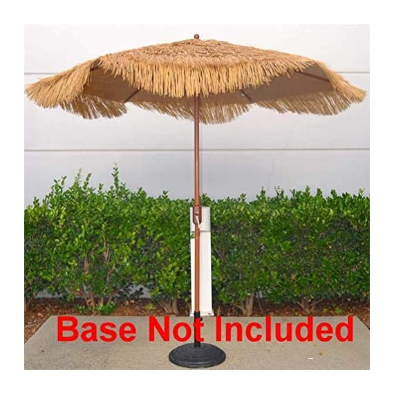 "Outdoor Patio Umbrella 9-Feet Thatched Tiki Market Table Umbrella Push Button Tilt Crank (9 FT, Tiki Umbrella) - 9 Foot Tropical Island Thatched Umbrella - UPF 50+ Protection - Perfect for Tiki Bar, Beach, Patio, Deck, Garden, Restaurant and Cafe 9' thatch umbrella comes with Heavy duty 1.5"" steel poles and steel rectangle ribs with wood grain finish, Durable polyester canopy sew with plastic straw gives our outdoor canopy tiki hut a tropical tone 9 ft patio umbrella easily opens and closes with crank lifting system - shades-parasols, patio-furniture, patio - 51iangkh4fL. SS570  -"