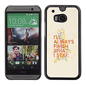 Paccase / SLIM PC / Aliminium Casa Carcasa Funda Case Cover para - Popular Motivational Quote Finish What Start Work - HTC One M8