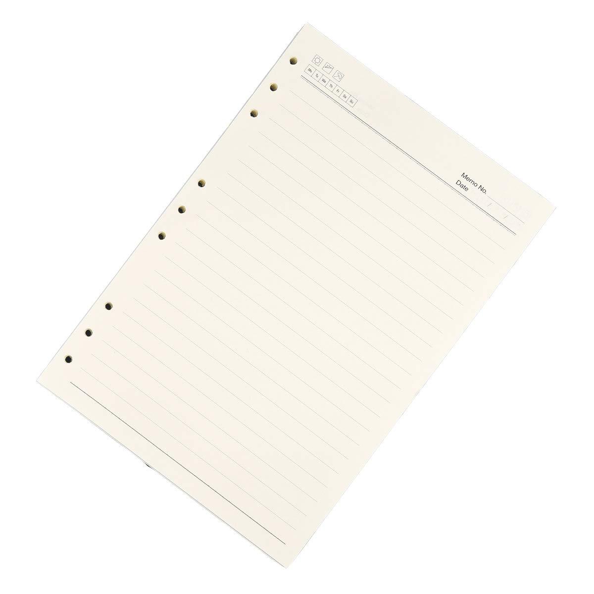 ricariche per quaderni e diari 90 fogli//180 pagine Ricarica di fogli a righe 21 x 14 cm formato A5 con 6 fori fogli a righe