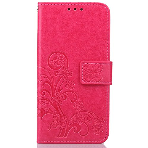 Cuitan PU Leather Case for Samsung Galaxy S7 Edge, Four Leaf Clover Stand Wallet Case with Card Slots & Lanyard, Magnetic Closure Flip Protective Case Cover Shell Skin for Samsung S7 Edge - Rose
