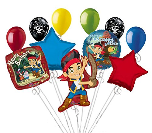 11pc Disney Jake & Neverland Pirates Birthday Balloon Bouquet Dinosaur -