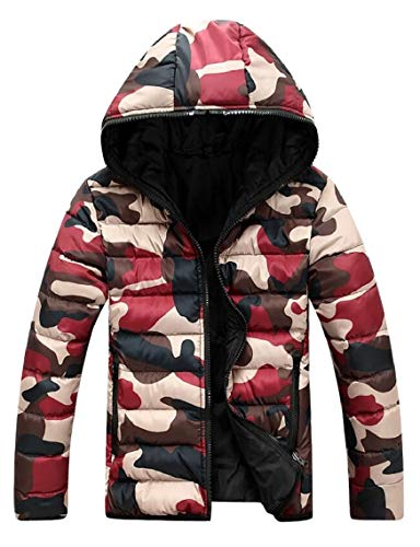 Gocgt Men's Hooded Camouflage Quilted Puffer Coat Padded Jacket Parkas Outwear 1