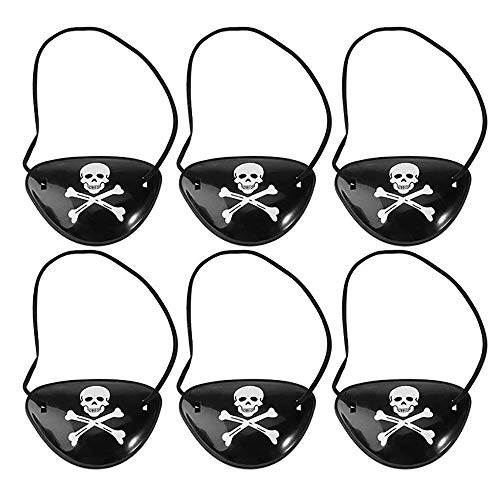 Renaisi Pirate Eye Patches Mask Skull and Cross Bones Black Plastic Party Bag Fillers Costume Accessory for Children Kids, Pack of 6 Party Decorations]()