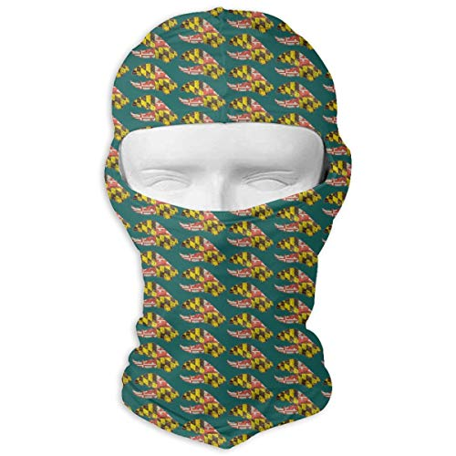 O-X_X-O Maryland State Flag Crab Balaclava Windproof & Dust Protection Motorcycle Helmet Liner Soft and Breathable Face Mask Warmer Balaclava Hood - Prefect ()