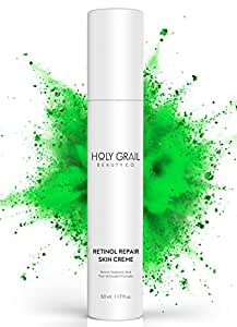 High Potency Retinol Repair Anti Aging Wrinkle Skin Cream – Reduce Fine Lines and Dark Spots, Visible Results. Hyaluronic Acid Vitamin E Green Tea & Shea Butter Facial Moisturizer by Holy Grail Beauty