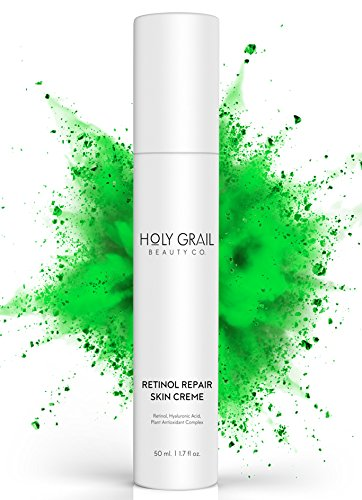 High Potency Retinol Repair Anti Aging Wrinkle Skin Cream – Reduce Fine Lines and Dark Spots, Visible Results. Hyaluronic Acid Vitamin E Green Tea & Shea Butter Facial Moisturizer by Holy Grail Beauty (Wrinkle Filler Collagen Decrease)