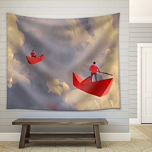 Illustration Men on Origami Red Paper Boats Floating in the Cloudy Sky Illustration Painting Fabric Wall
