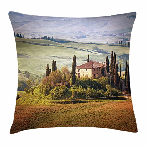 (Lunarable Tuscan Throw Pillow Cushion Cover, Tuscany Seen from Stone Ancient Village of Montepulciano Italy in Cloudy Day, Decorative Square Accent Pillow Case, 18 X 18 Inches, Green and Brown)