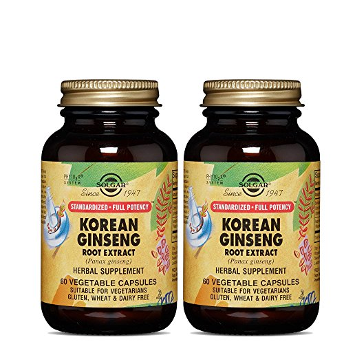 Solgar – Standardized Full Potency Korean Ginseng Root Extract, 60 Vegetable Capsules - 2 Pack