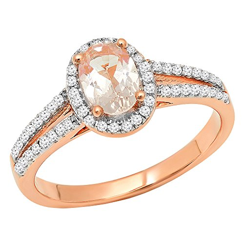 Dazzlingrock Collection 14K 7X5 MM Oval Morganite & Round White Diamond Bridal Halo Engagement Ring, Rose Gold, Size 6 (5mm Ring Setting Oval)