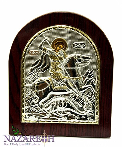 Icon George (Saint George Icon Sterling Silver 925 Holy St.George Ikona Handmade Jerusalem)