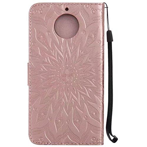 YHUISEN Diseño de la impresión de la flor del sol Caja de cuero del tirón de la carpeta del tirón del cuero de la PU con la ranura para tarjeta / el soporte para Motorola Moto G5s Plus ( Color : Red ) Rose Gold