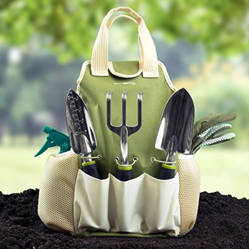 Vremi-9-Piece-Garden-Tools-Set-Gardening-Tools-with-Garden-Gloves-and-Garden-Tote-Gardening-Gifts-Tool-Set-with-Garden-Trowel-Pruners-and-More-Vegetable-Herb-Garden-Hand-Tools-with-Storage-Tote