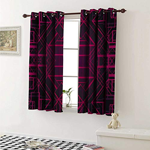 Indigo Room Darkening Wide Curtains Geometric Modern Design with Lines Triangle Square Details Art Print Window Curtain Drape W108 x L72 Inch Pink Burgundy and Purple