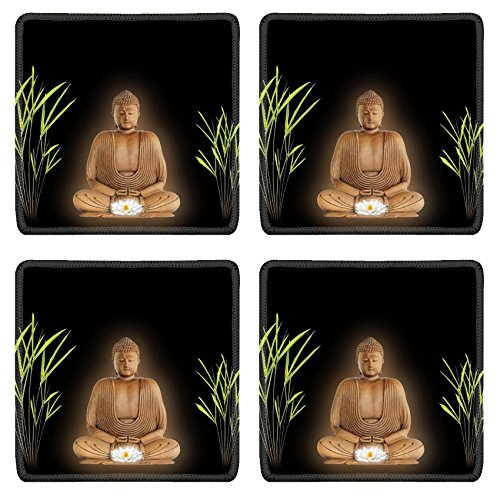 Serena & Lily 3 Piece (Luxlady Square Coasters IMAGE ID 4 Buddha with golden aura in prayer holding a glowing white lotus lily flower with bamboo grass either side Over black)