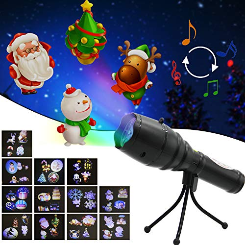 FORUP LED Projector Lights, Handheld Flashlight with Music Player, l12 Decorative Projection Slides, Tripod, Dynamic & Static Images for Christmas Halloween Party Birthday & Holiday Decoration