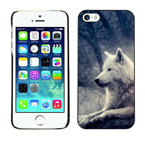 TaiTech / Case Cover Housse Coque étui - Wolf White Bright Magical Forest Night Tree - Apple iPhone 5 / 5S