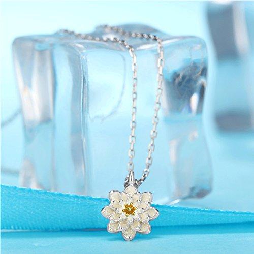Murtoo Collier Argent 925/1000 Doré Fleur De Lotus Sautoir Pour Femme