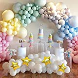 Magical Unicorn Rainbow Macaron Balloons Garland Arch Kit for Pastel Baby Shower Birthday Bridal Shower Ice Cream Party Decorations