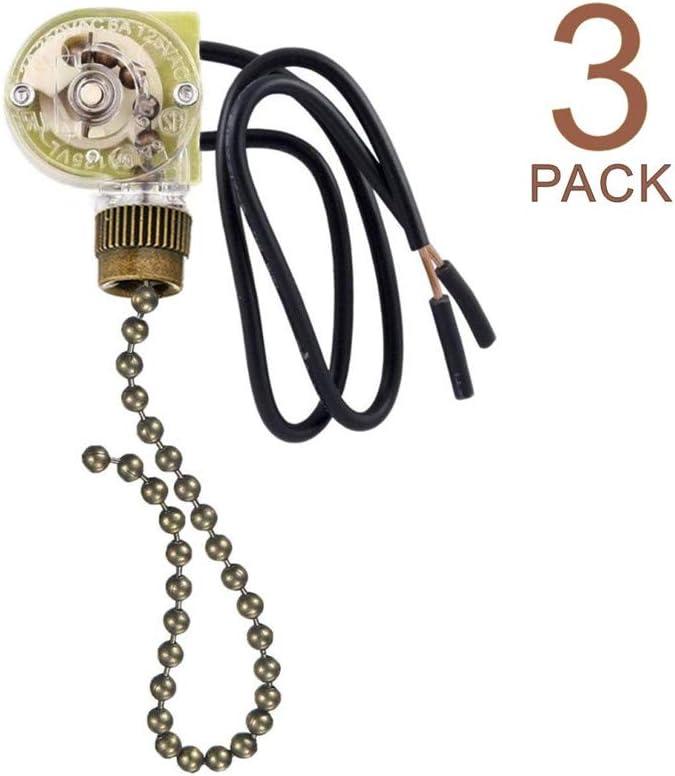 Pull Chain Switch Zing Ear ZE-109 Ceiling Fan Switch Ceiling Fan Light Lamp Replacement 3 Pack Bronze - -