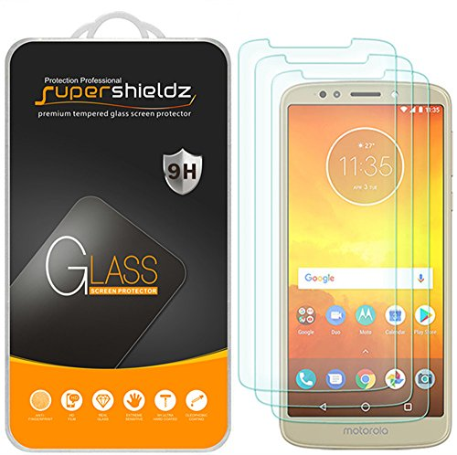 (3 Pack) Supershieldz for Motorola (Moto E5) Tempered Glass Screen Protector, 0.33mm, Anti Scratch, Bubble Free