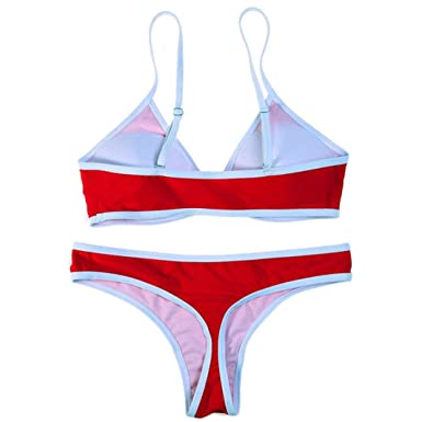 4b86d39c773fe Amazon.com  Misaky Cute Women s 2 Piece Swimwear Swimsuit Thong Bathing  Suits Swim Bikini Sale  Clothing