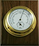 Fischer Instruments 1508TH-45-1D 5'' Polished Brass MarineThermo-Hygrometer with Wallnut Plaque
