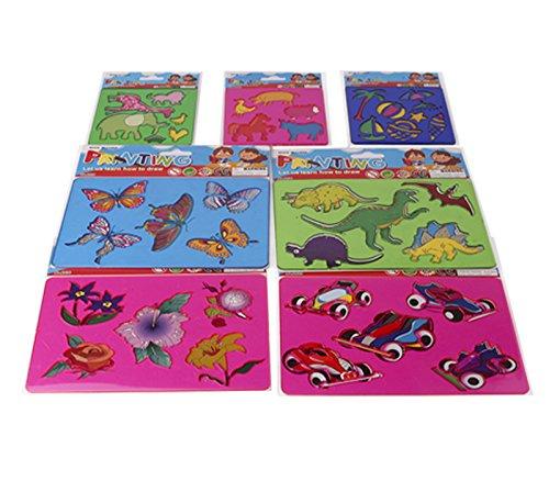 Plastik Stencils Set for Kids - 7pcs Stencil Drawing Kit, Сar Stencil, Animal Stencils, Farm Stencil, Dinosaur Stencil, Butterflies Stencil, Flower Stencil for Kids. Excellent Gift for Kid.