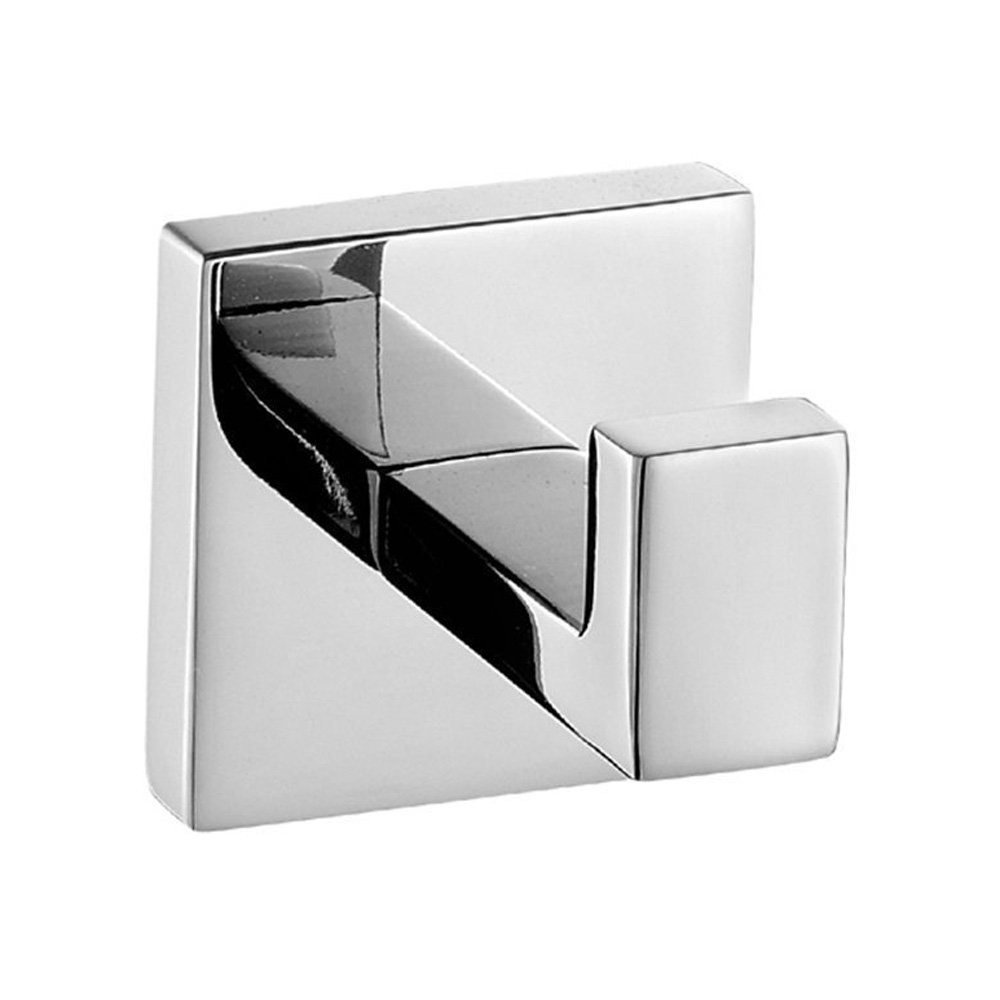 Bath Towel Hook, Angle Simple Solid Metal Bathroom Shower Square Hook Hand Towel Bathrobe Sponges Hanger Kitchen Cabinet Closet Hook Pants And Shirt Holder Polished Chrome, Wall Mounted