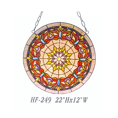 HDO Glass Panels HF-249 22 Inch Vintage Tiffany Style Handmade Stained Glass Church Art Gold Fish Design Window Hanging Glass Panel Suncatcher ()