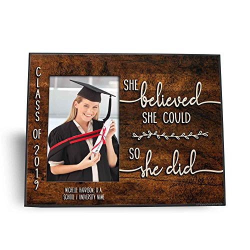 Personalized College Graduation Picture Frame Gift for Her, She believed she could so she did