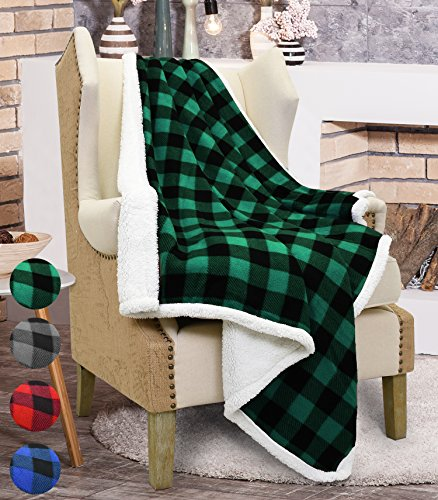 Catalonia Buffalo Check Sherpa Throw Blanket,Reversible Soft Warm Fuzzy Comfy Snuggle Fleece Plush Throws for Bed Couch Sofa TV,60x50,Inches,Plaid Green (Plaid Green Throw)