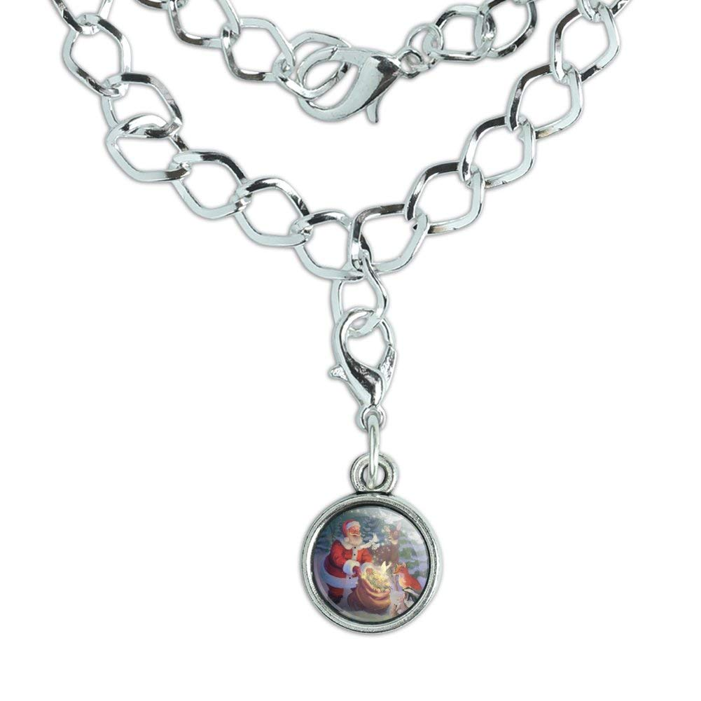 GRAPHICS /& MORE Christmas Holiday Santa Magic Peace Doves Silver Plated Bracelet with Antiqued Charm