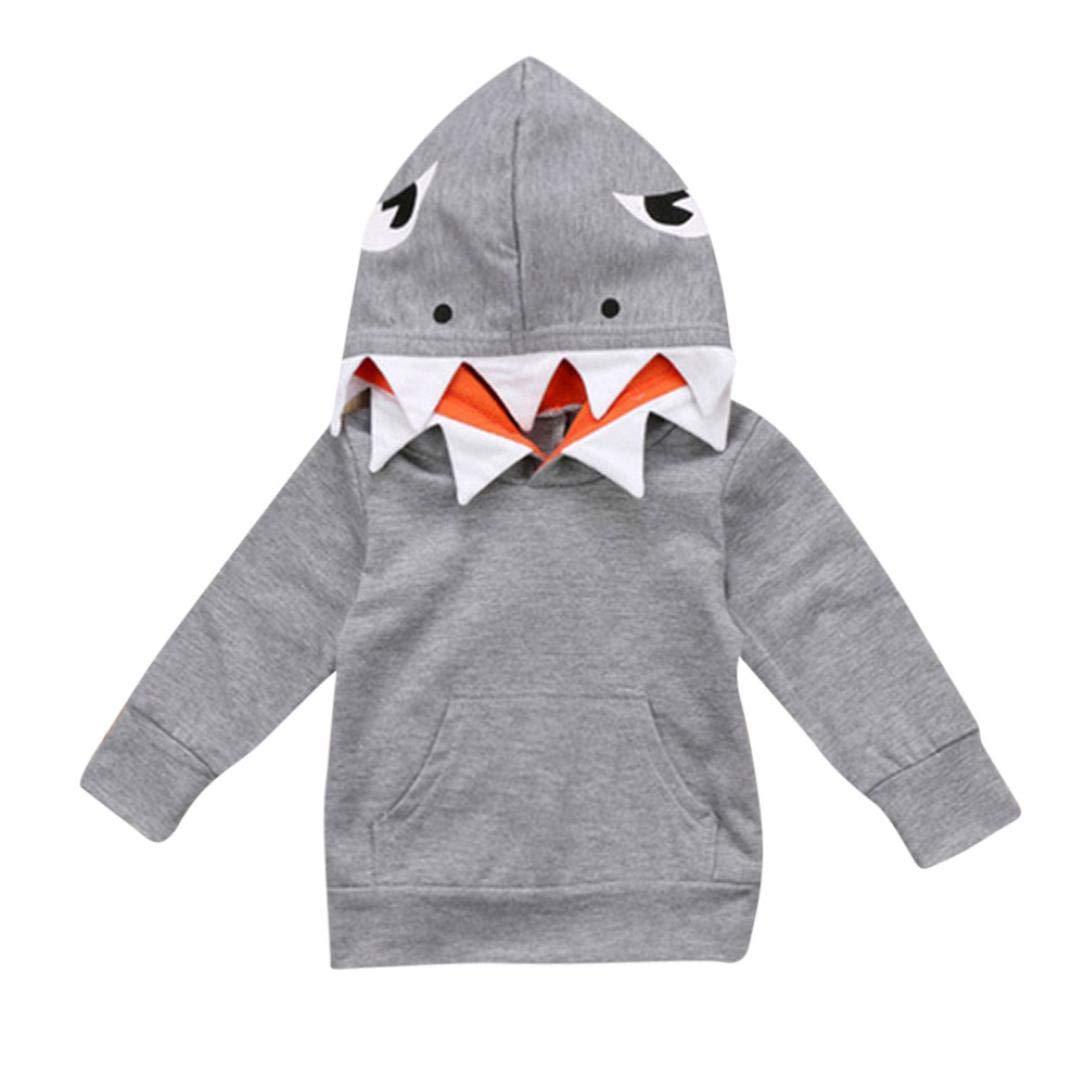 Xshuai ® Toddler Kids Boys Girls Long Sleeves Cartoon Shark Hooded Top Clothing