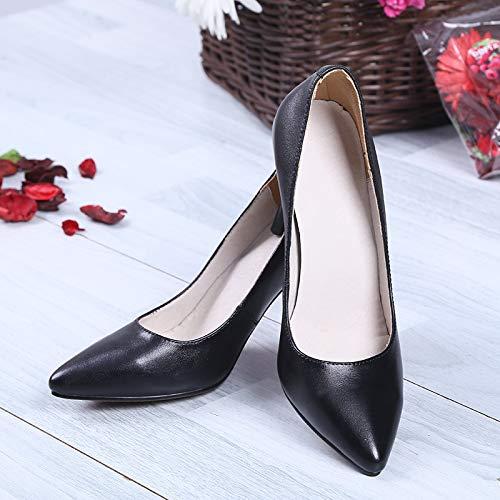 alto Trabajo Tacón Alto Black De Alto Cuero tacón Zapatos Yukun Mujer Alto De Zapatos de Pupu De De zapatos De Tacón De De Puntiagudos Tacón xtwtF6gZSq