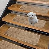 Sweethome Stores Non-Slip Shag Carpet Stair Treads, (9