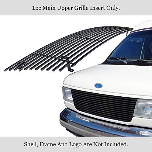 APS Compatible with 1992-2007 Ford Econoline Van Black Stainless Steel Billet Grille -