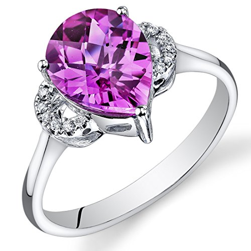 (Peora 14K White Gold Pear Created Pink Sapphire Diamond Ring (3.05 cttw))