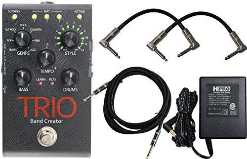 Digitech TRIO Electric Guitar Multi Effect Band Creator Pedal with 3 Free Cables and Many Free Guitar Tutorials Intelligent Bass and Drum Effects Authorized Dealer Ships from USA -  TRIO-UK10