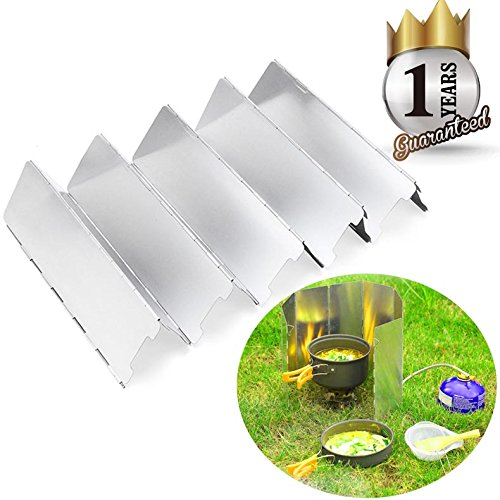 Camping Stove Windshield Windscreen, Aluminum 10 Plates Compact Folding Camp Stove Wind Screen for Picnic Cooker Outdoor Stove Set (10 Windscreen)