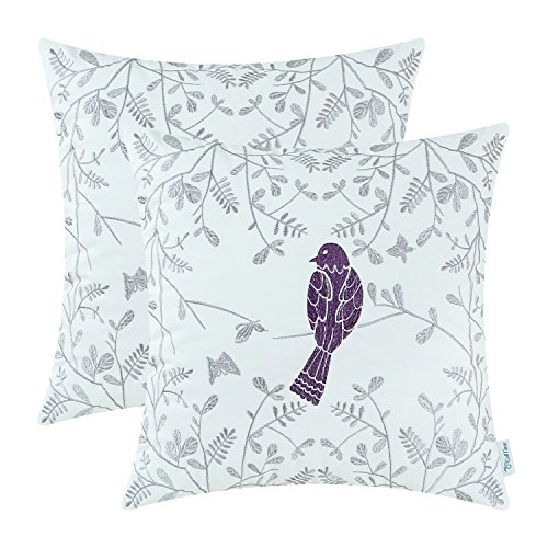 Pack of 2 CaliTime Cotton Throw Pillow Cases Covers for Bed Couch Sofa, Cute Bird in Gray Garden Embroidered, 18 X 18 Inches, Purple (Plum Accent Chair)