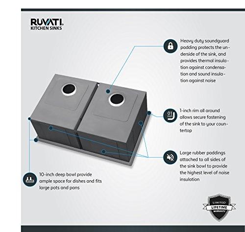 Ruvati RVH7350 Undermount 16 Gauge Kitchen Sink Double Bowl, 30'', Stainless Steel by Ruvati (Image #4)