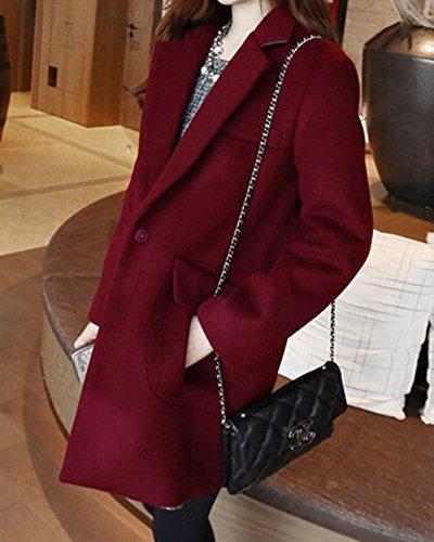 De Vino Mangas traje De Collar de De Parka Rojo Mujer Largas Abrigo Con Bolsillos 7wdxS7