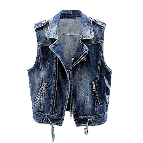 便宜阻害するヶ月目[habille]レディース ジップアップ デニム ベスト ジャケット ダメージ加工 ハードスタイル ショート丈 襟 おまけ付(3カラー)