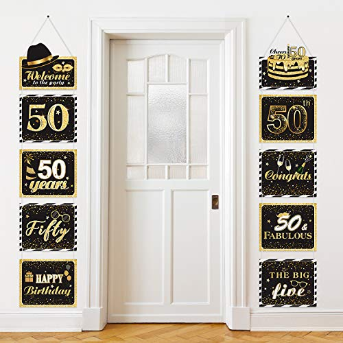Large 50th Sign Cutouts Banner 50th Anniversary Decoration Party Supplies Door Sign 50 Years Theme Birthday Party Wall Decoration Signs 10 Counts