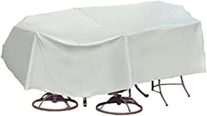 Protective Covers Weatherproof Patio Table and Highback Chair Set Cover, 80 Inch x 96 Inch, Oval/Rectangle Table, Gray - 1348