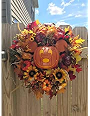 Fall Wreath Main Street USA Inspired,Front Door with Pumpkins Artificial Maples Leaves Wreath Fall Halloween Wreath Decoration Indoor Outdoor Decor