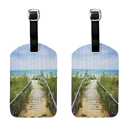Travel Tags 2 Pieces Set Seaside Decor Collection,Boardwalk over Dunes at Beach Pinery and Provincial Park Ontario Canada Holidays Picture,Green Ivory Suitcase ID Tag