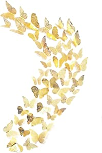 48Pcs Butterfly Decorations, Creatiee 3D Wall Decals|Metallic Art Sticker, DIY/Handmade/Removable/Pressure Resistance Paper Murals Gift for Home Kids Bedroom Nursey Party Décor (Gold)